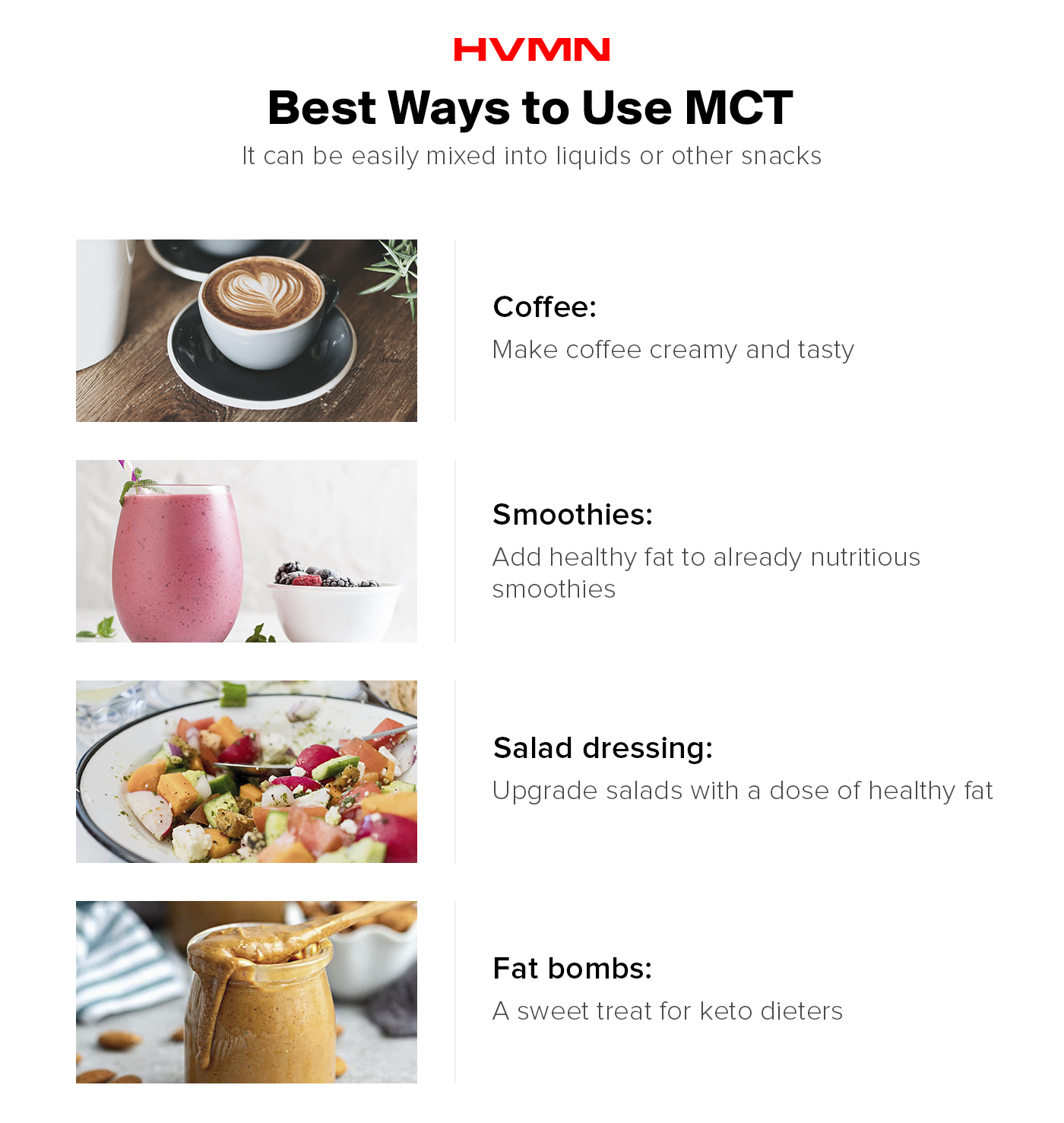 MCTs can be used in a number of different ways including: coffee, smoothies, salad dressings, and fat bombs.