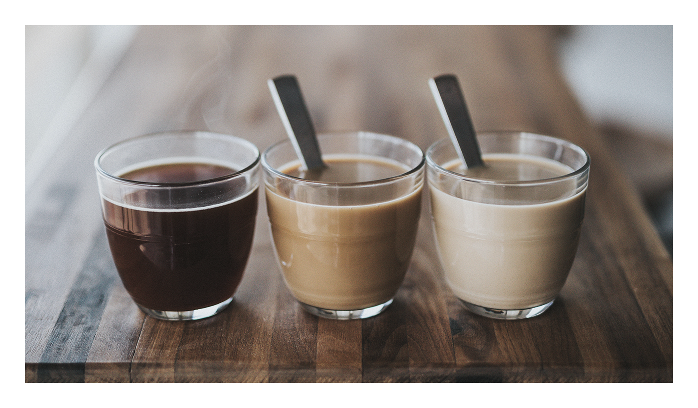 The image shows three pictures of coffee: one black, one with a little cream, and one with heavy cream.