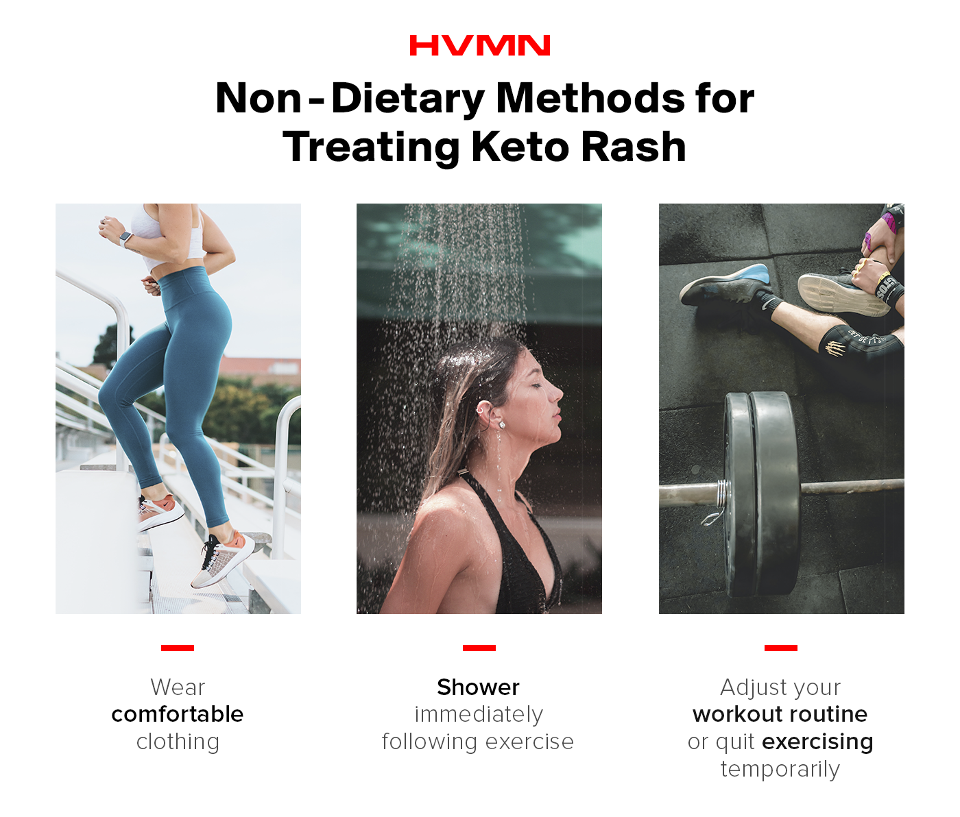This image describes non-dietary methods of treating keto rash including wearing comfortable clothing, showering, and adjusting your workout routine.