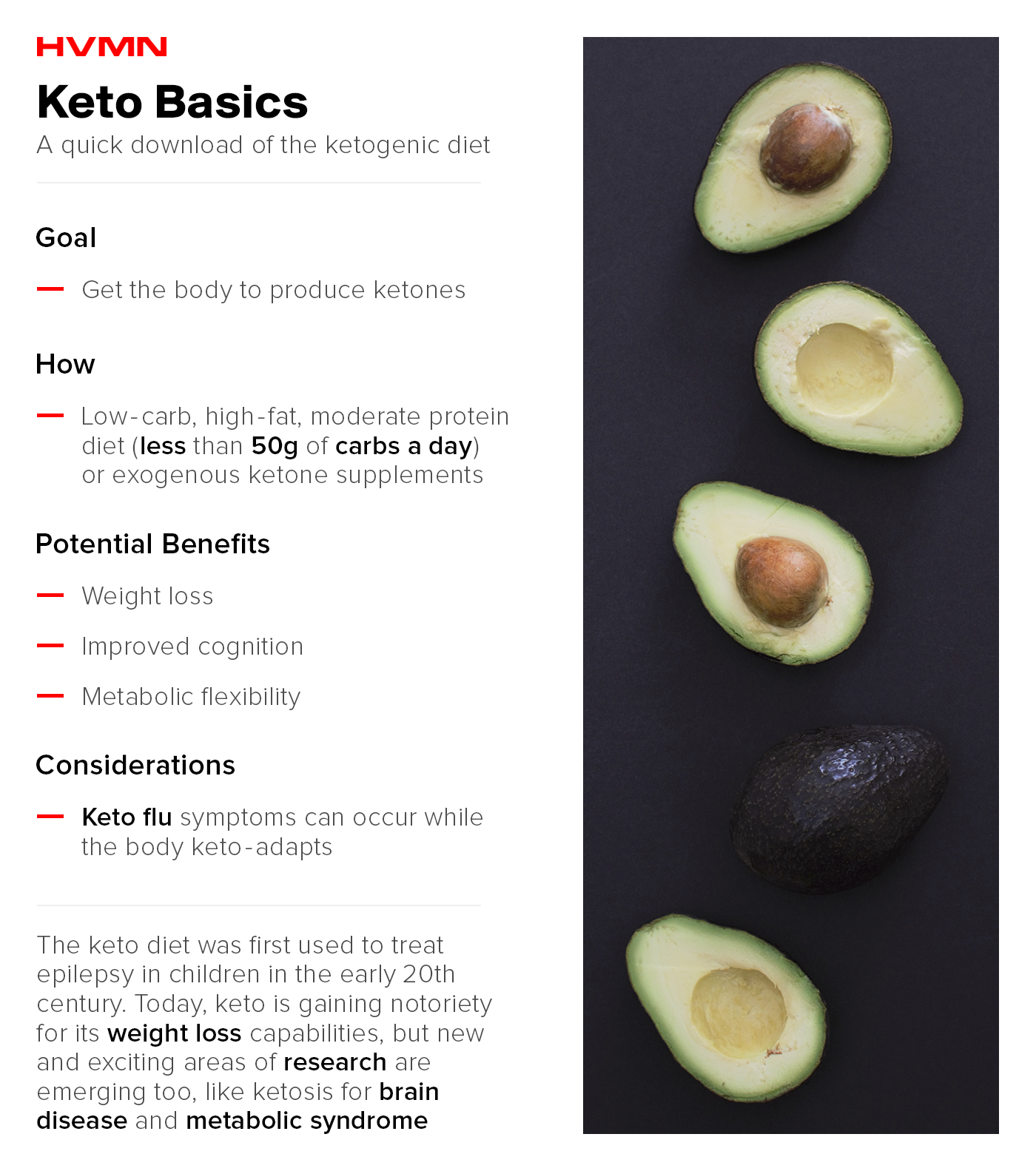 An image of avocados cut in half, showing the basics of keto