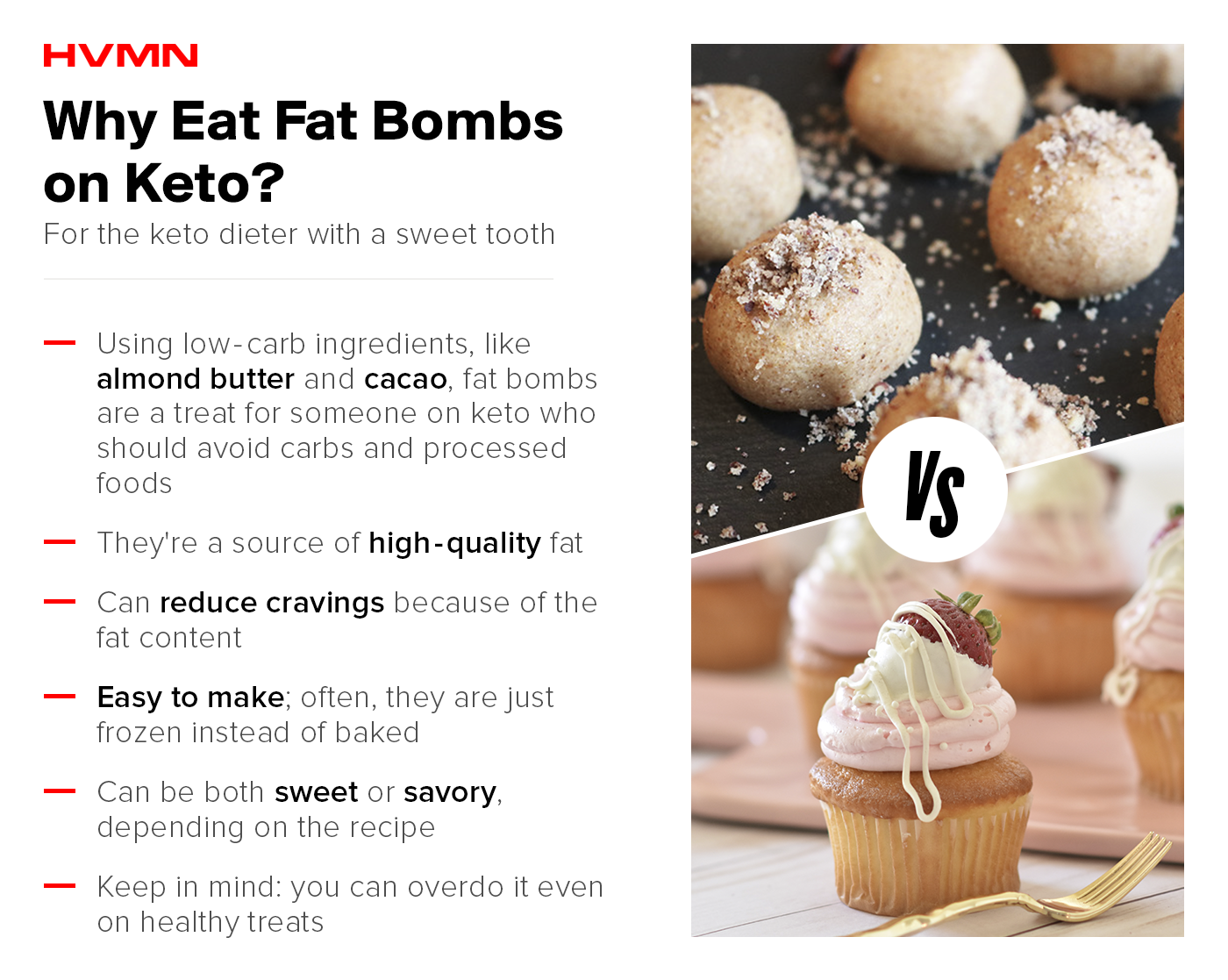 An image of fat bomb balls compared to cupcakes, showing the benefits of eating fat bombs on keto