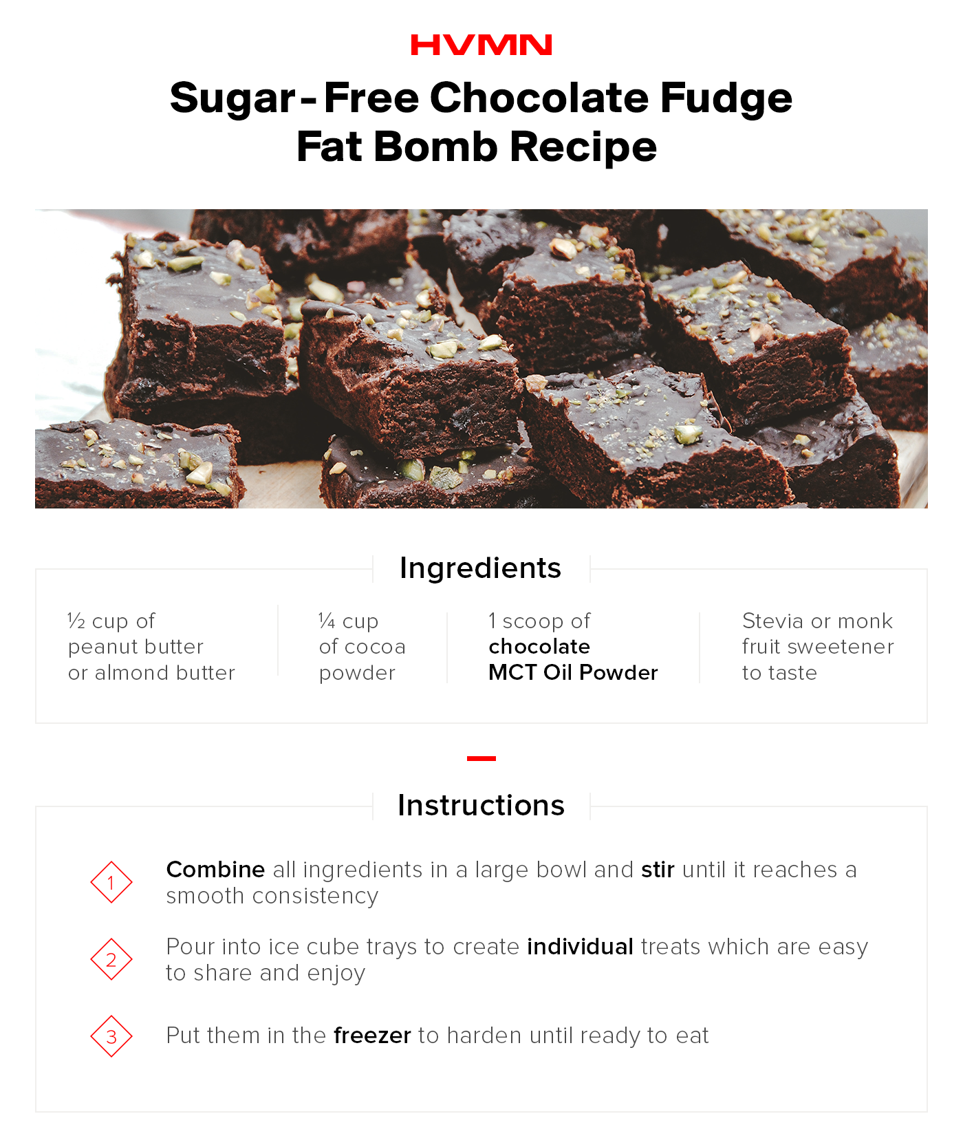 An image of a pile brownies, showing the food this fat bomb recipe hopes to mimick