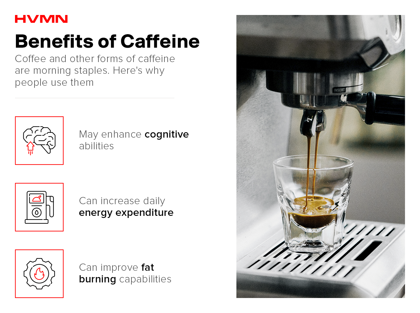 An espresso machine pouring coffee into a small cup, with illustrations of a gas meter, a brain and a gear, showing the benefits of caffeine