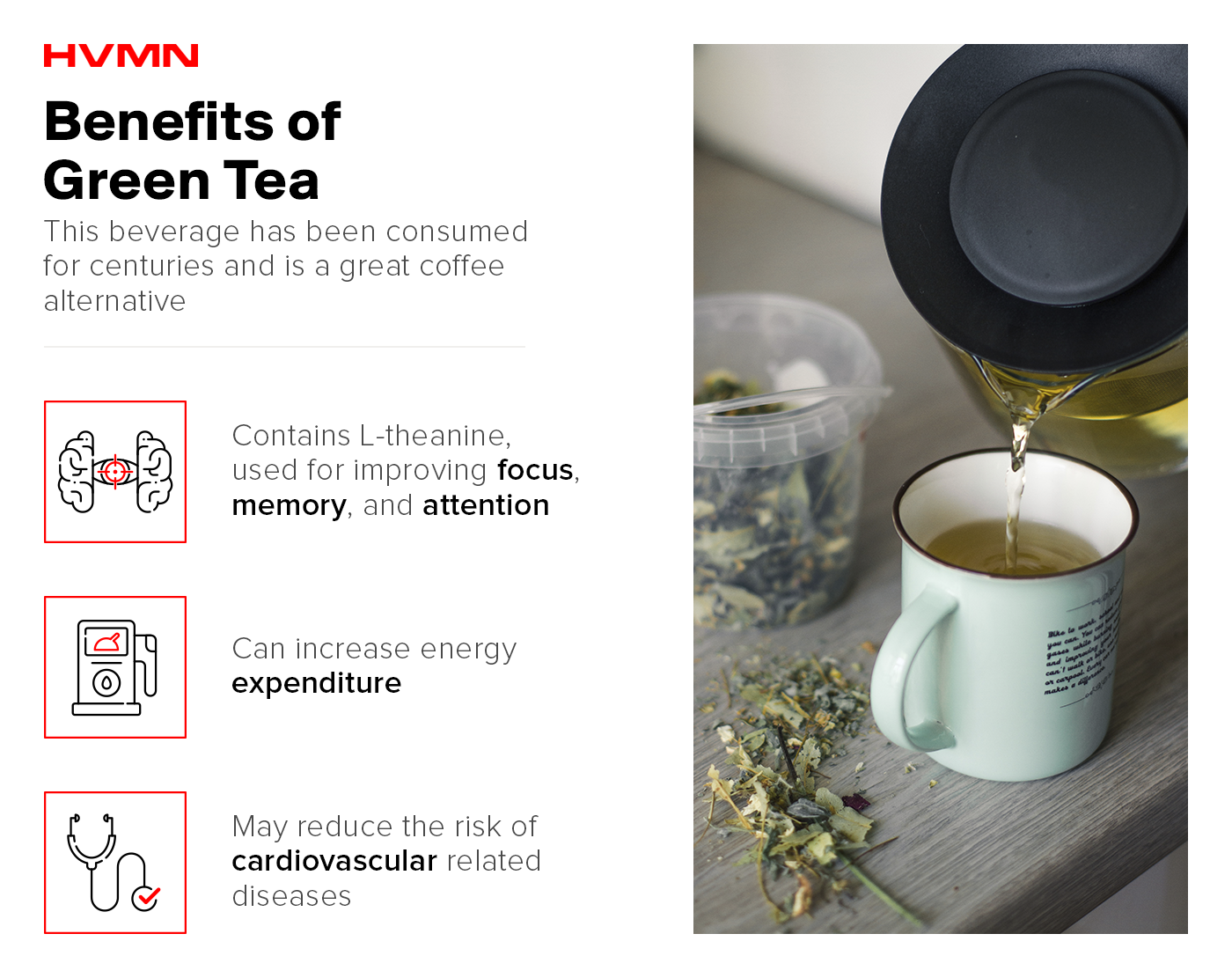 An image of a cup of tea being poured, with icons of a brain, a gas meter and a stethoscope, showing the benefits of green tea