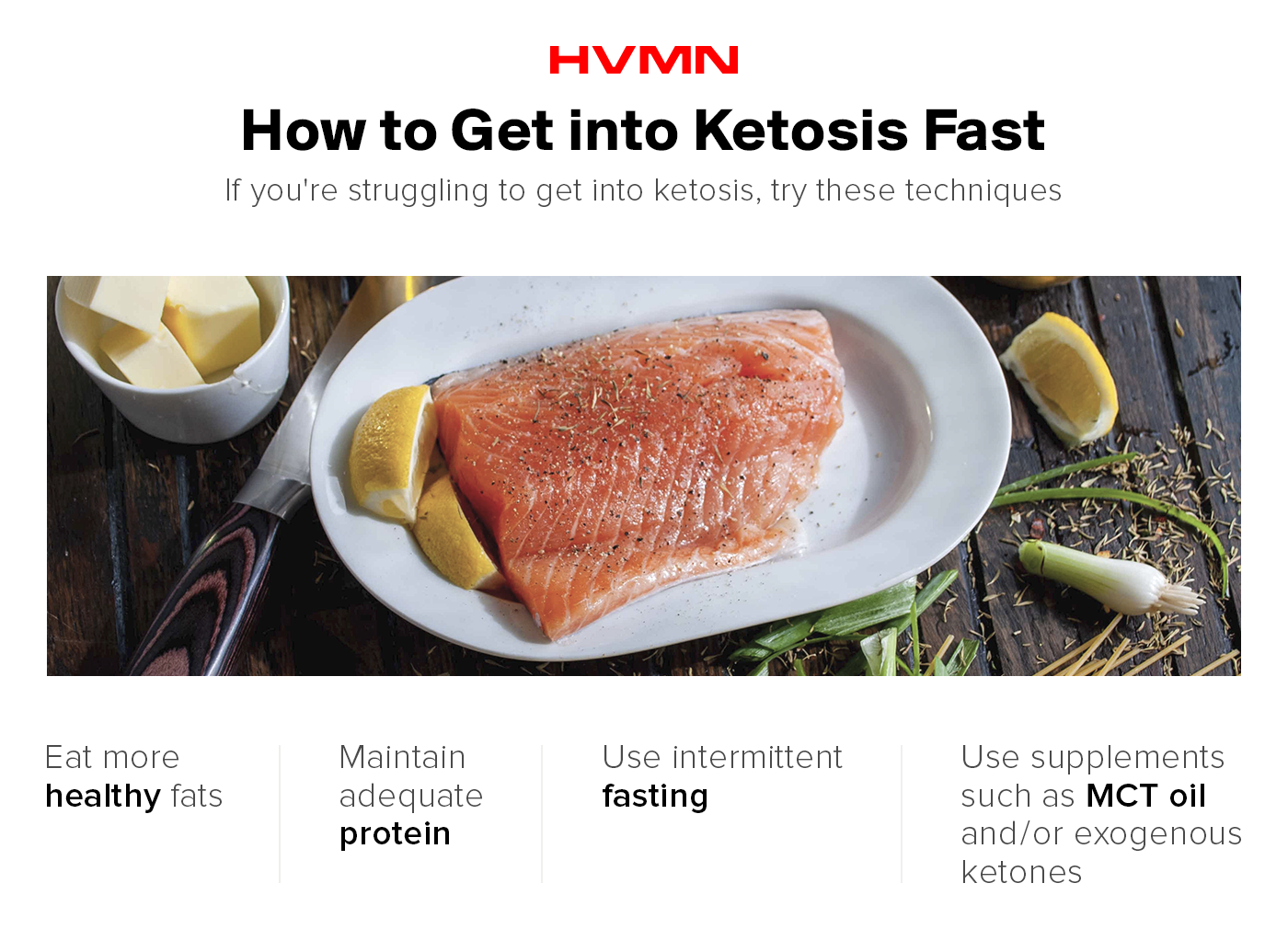 An image of a plate of salmon, showing different methods of how to get into ketosis fast