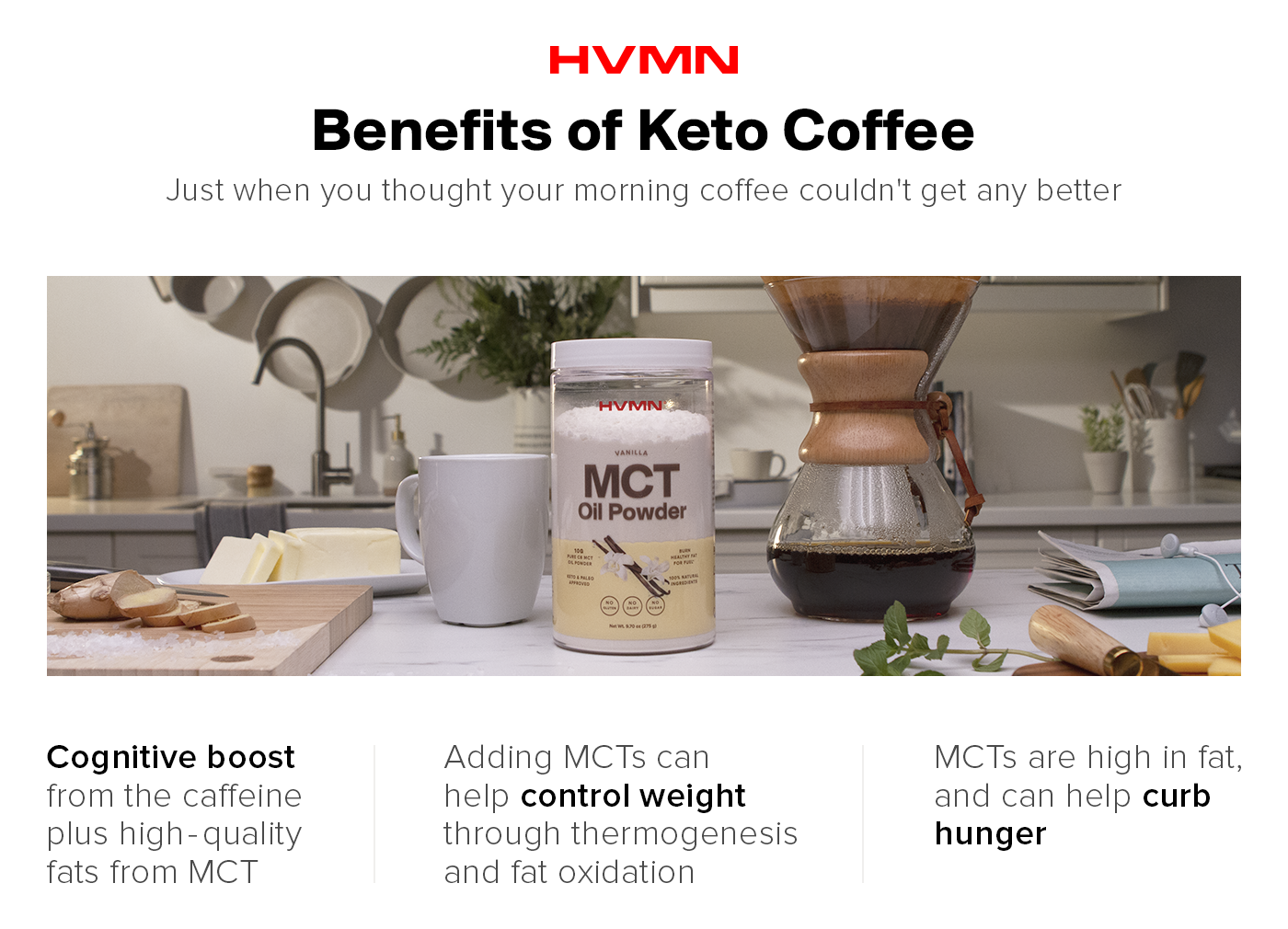 An image of H.V.M.N.'s MCT Oil Powder on a kitchen counter with coffee and butter