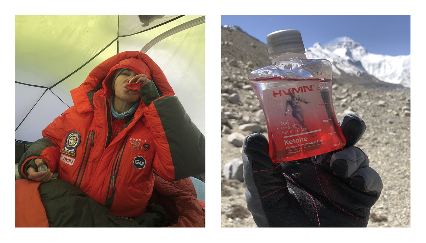 Roxanne in her tent drinking a bottle of HVMN Ketone Ester. This is next to a photo of Roxanna holding a bottle of HVMN Ketone Ester with Everest in the background