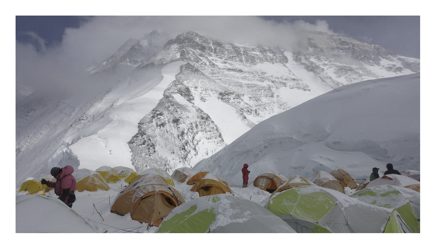 Snow-covered tents at one of the Everest base camps
