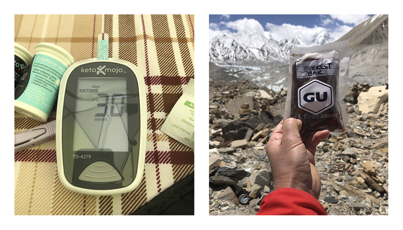 A keto mojo machine, showing ketone levels of 3.0. And Roxanne holding a Gu Energy bar with Everest in the backdrop