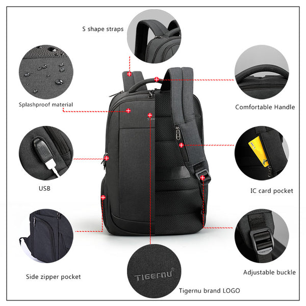 TigerNu 2018 T-B3503 15.6 inches Anti-Theft Laptop Business Backpack School Bag w/LOCK
