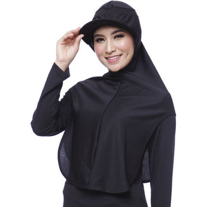 ATTIQA ACTIVE,  LONG RUNNER SPORT HIJAB (BLACK)