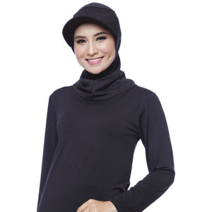 ATTIQA ACTIVE,  SHORT RUNNER SPORT HIJAB (BLACK)