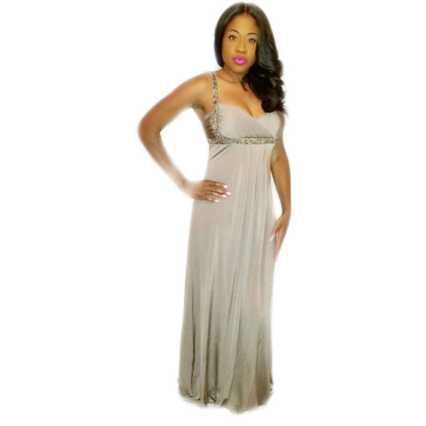 EMPIRE WAIST EMBELLISHED GRAY DRESS - Size 10