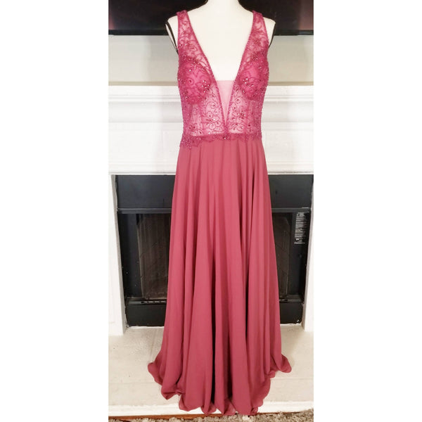 Mauve Chiffon Dress With Beading Sequins - Size 18W