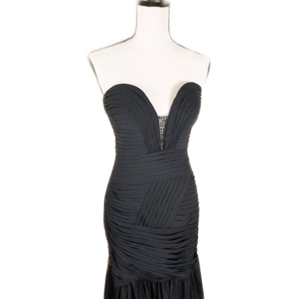 Navy Sweetheart Chiffon Dress - Size 2