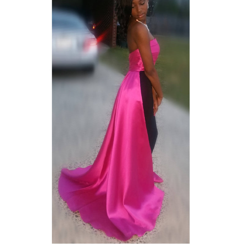 BLACK SLEEK GOWN WITH PINK TRAIN - SIZE 2