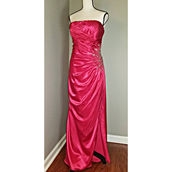 Strapless Fuchsia Gown with Embellishment - Size 12