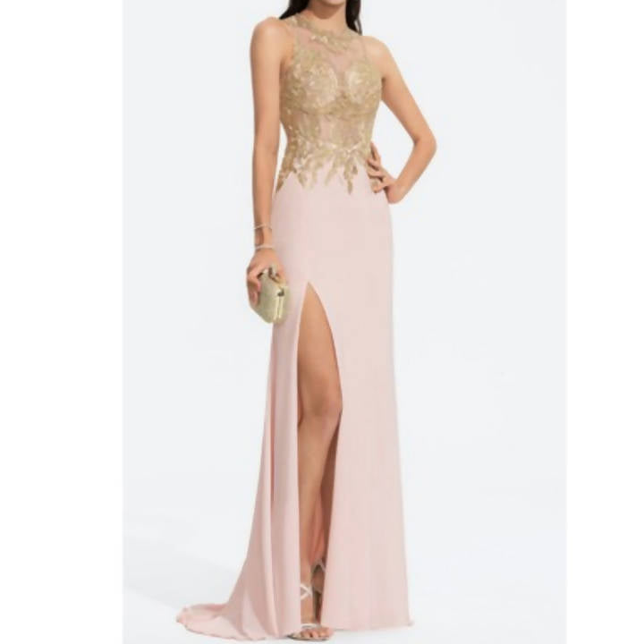 Scoop Neck Jersey Gown With Lace - Size 14