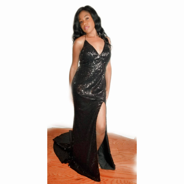 Black V-neck Sequin with Train & Front Split - Size 12