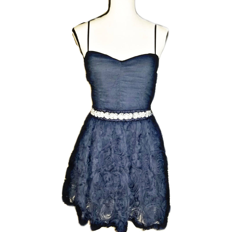 Rose Patterned Short Navy Dress - Size 9