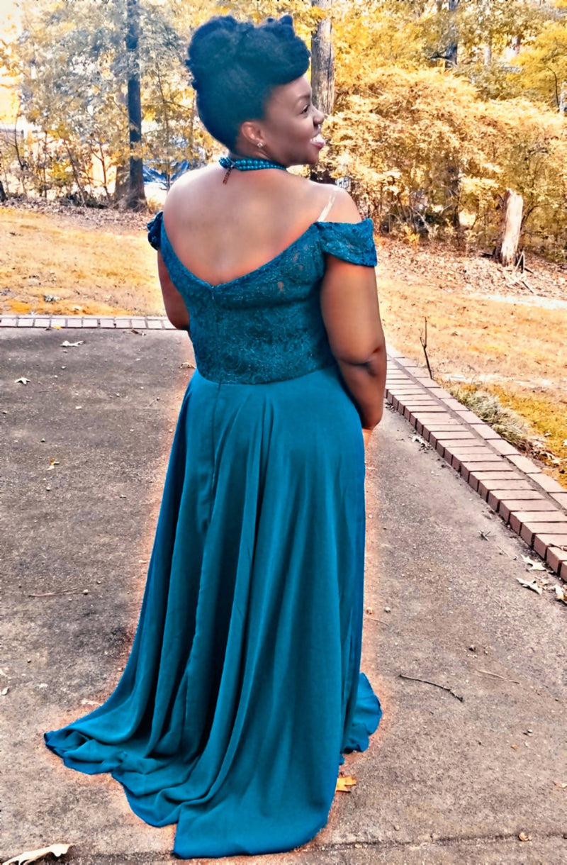 Off-the-Shoulder Chiffon Lace Gown - Size 18W