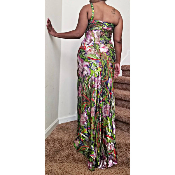 One-Shoulder Jeweled Flower Print Gown - Size 10