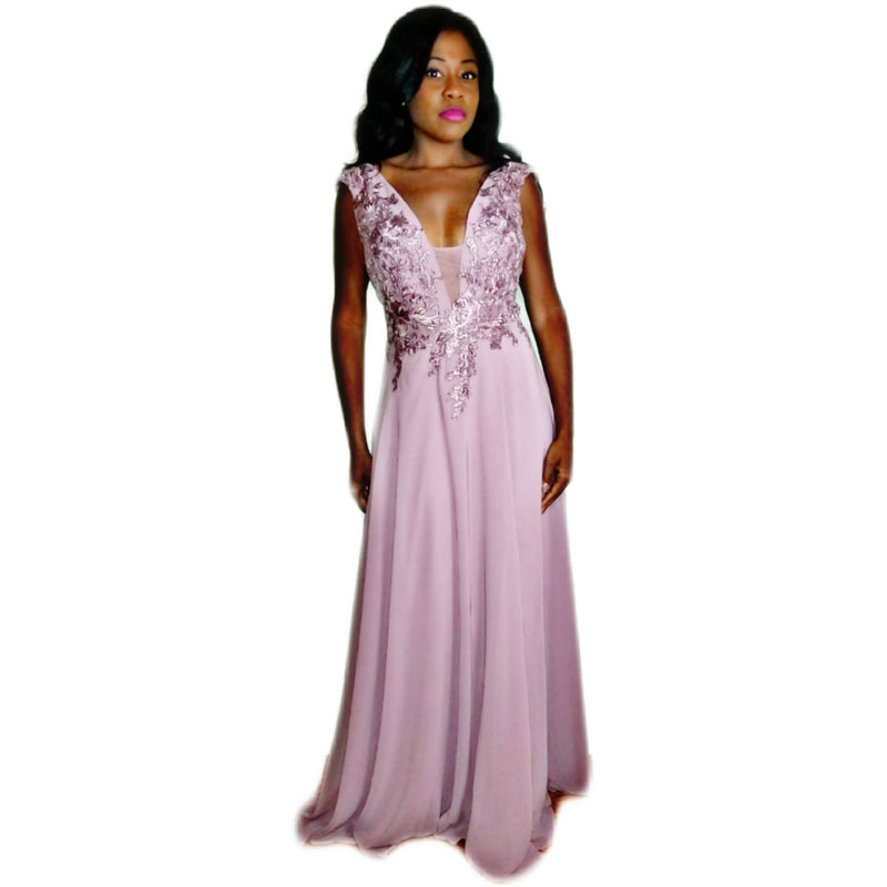 Chiffon Floor Length Gown with Split - Size 8