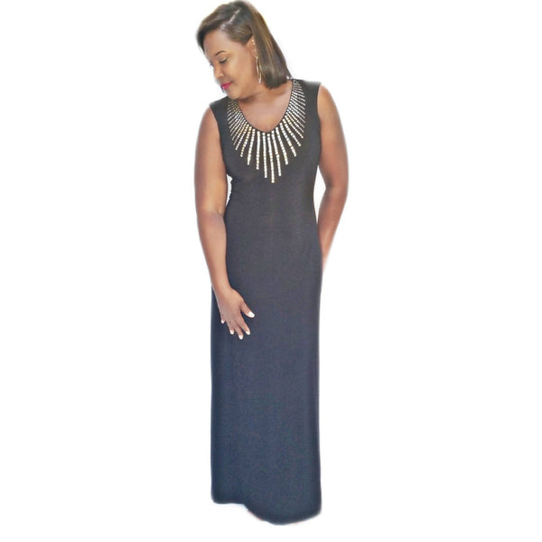 Cach'e Black Embellished Gown - Size Medium