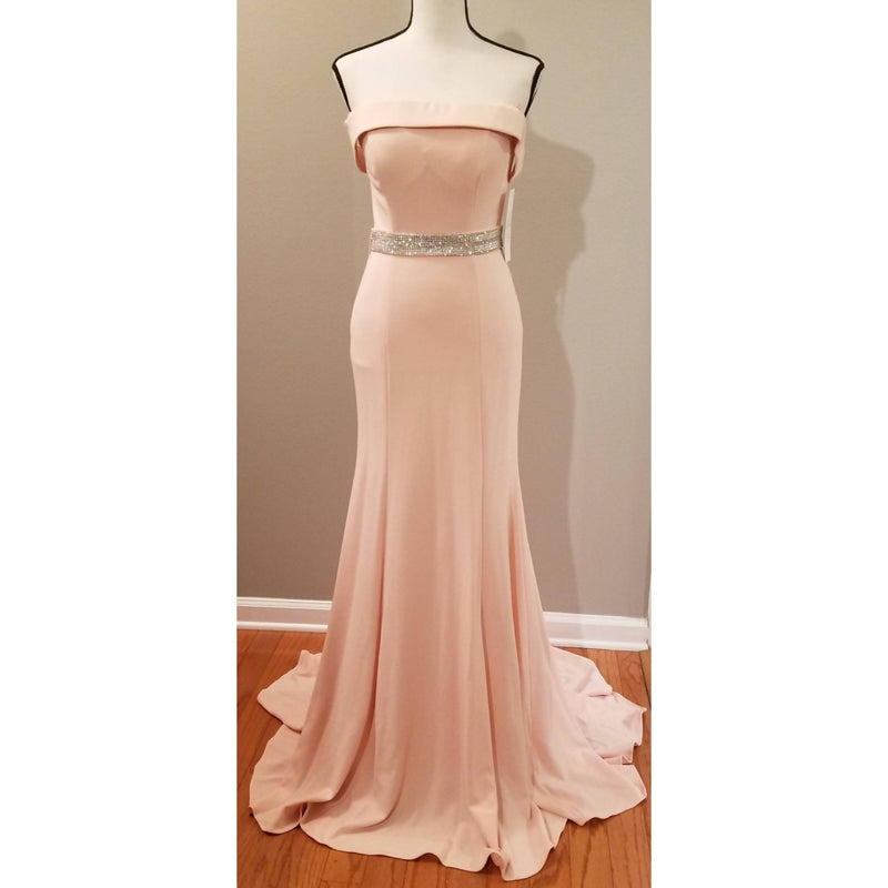 Blush Off-the-Shoulder Long Dress with Train - Size Small