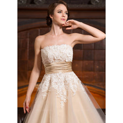 Strapless Tea Length Tulle Dress with Lace Top - Size S