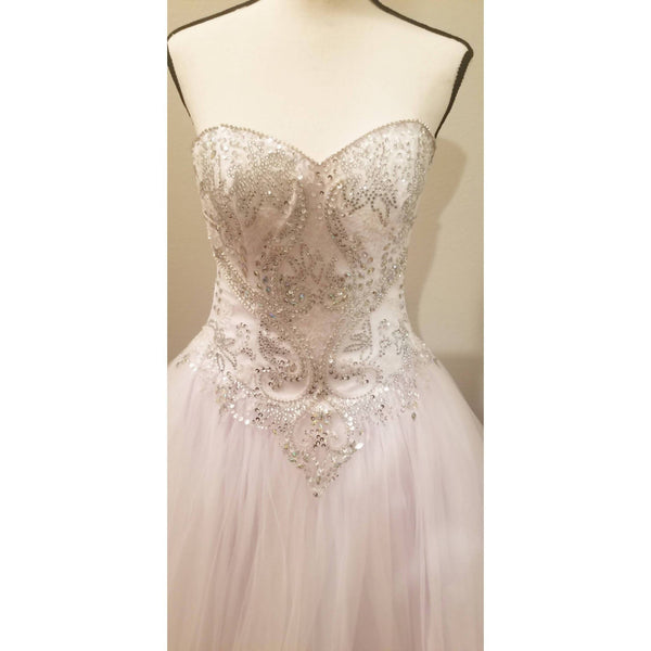 White Strapless Embellished Sweetheart Ballgown - Size XS