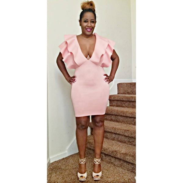 Pink Deep Plunge Ruffle Mini Dress - Size 12