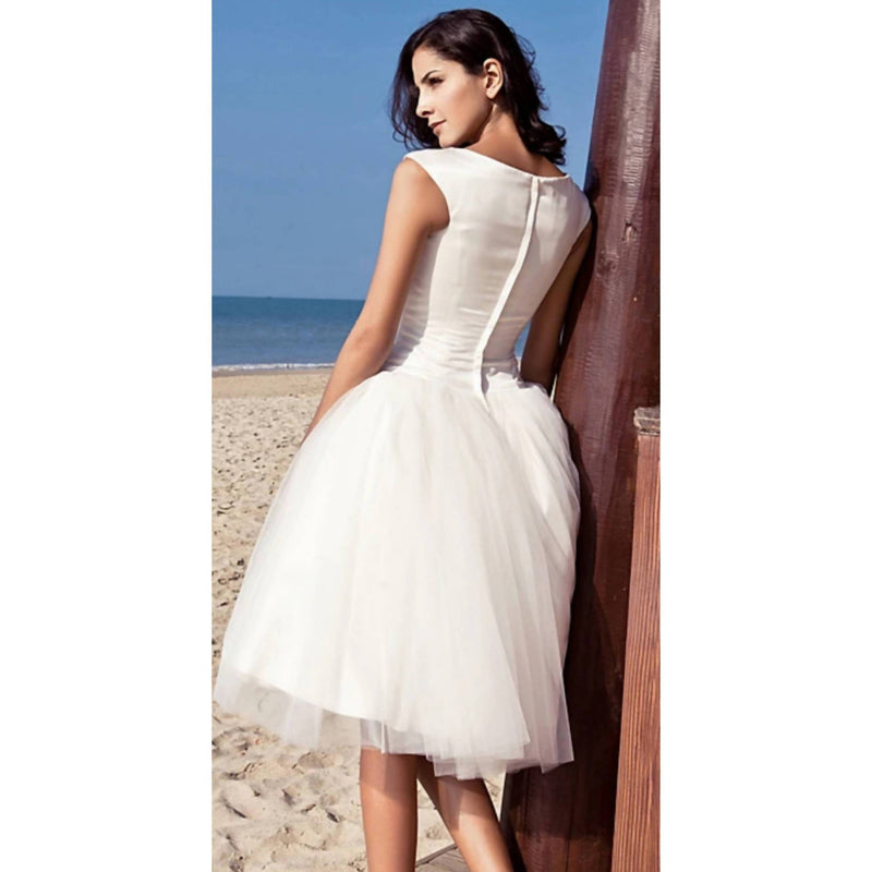 Bateau Neck Knee Length Ballgown - Size S