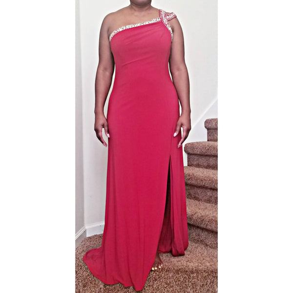 One-Shoulder Red Jersey Gown - Size 10