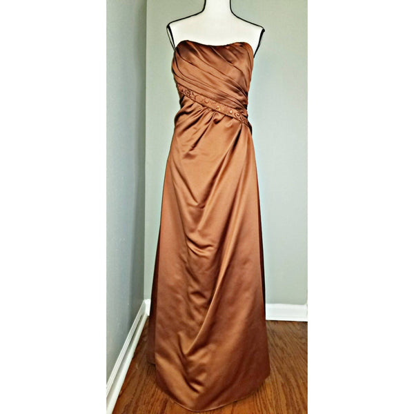Strapless Bronze Floor Length Gown - Size 12