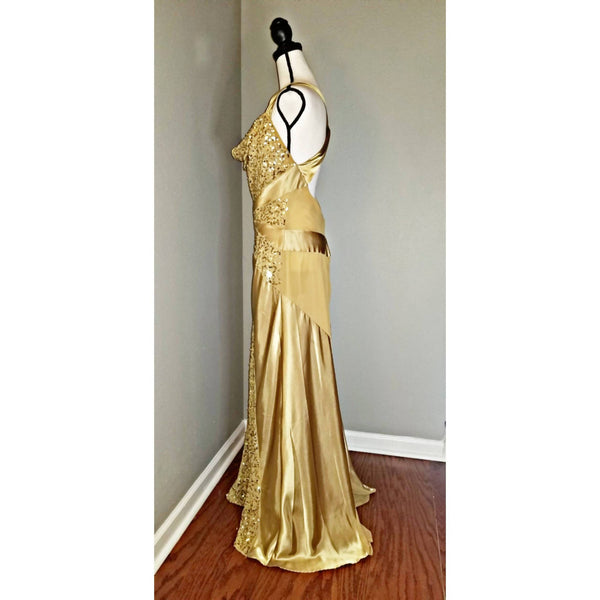 Shimmery Gold Cross Strap Gown - Size 14