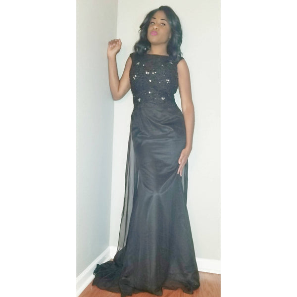 Black Embellished Gown with Train - Size 8