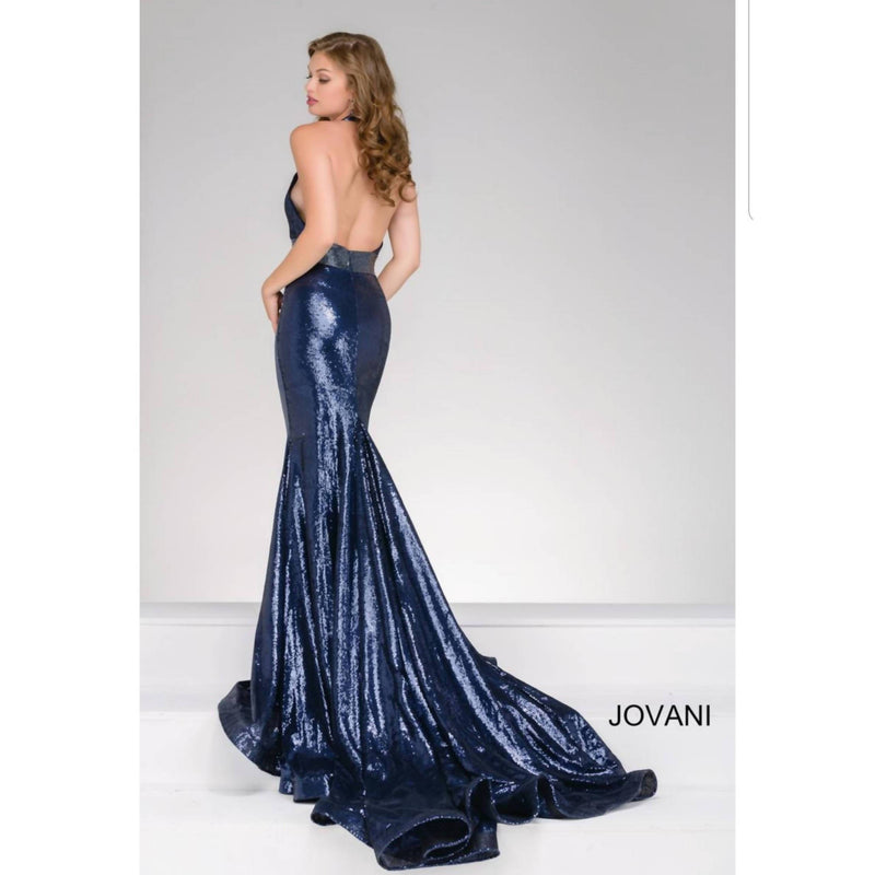 Jovani Navy Sequined Halter Dress - Size 4