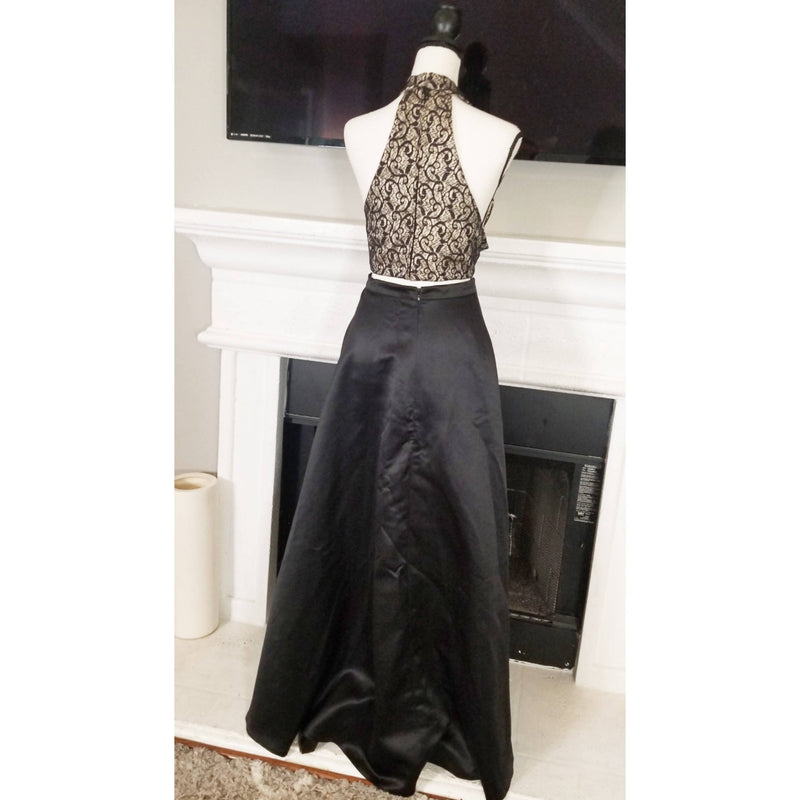 TwoPiece Black & Nude Satin Dress - Size 16W