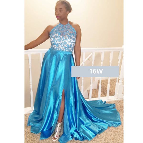 Ocean Blue TwoPiece Halter Satin Dress - Size 16W