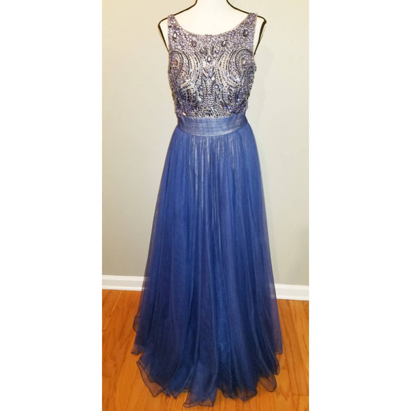 Navy Blue Beaded Floor Length Formal Dress - Size M