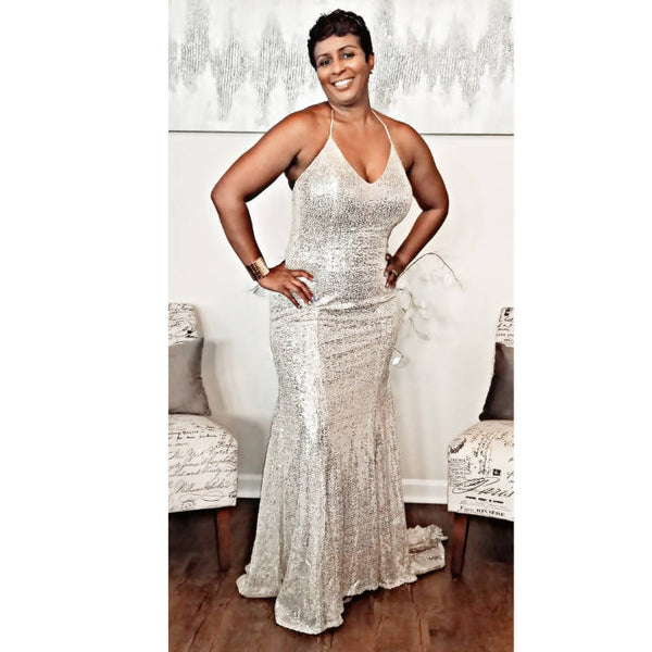 Champagne Sequin Gown with Train - Size 12