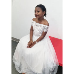 GIRL'S WHITE FORMAL BALLGOWN - SIZE 8