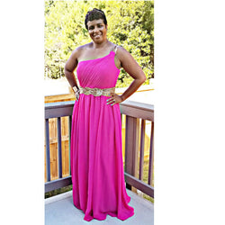 One-Shoulder Chiffon Gown - Size 14