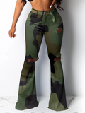 Camouflage Printed Hole Flare Pants-Bottoms>Pants>Casual-Chicbela