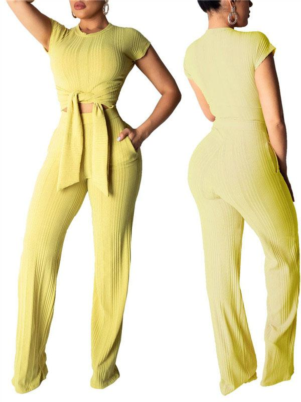 Short Sleeve Solid Color Tie Up Pocket Two Piece Sets-Sets>Pant Sets>Solid-Chicbela