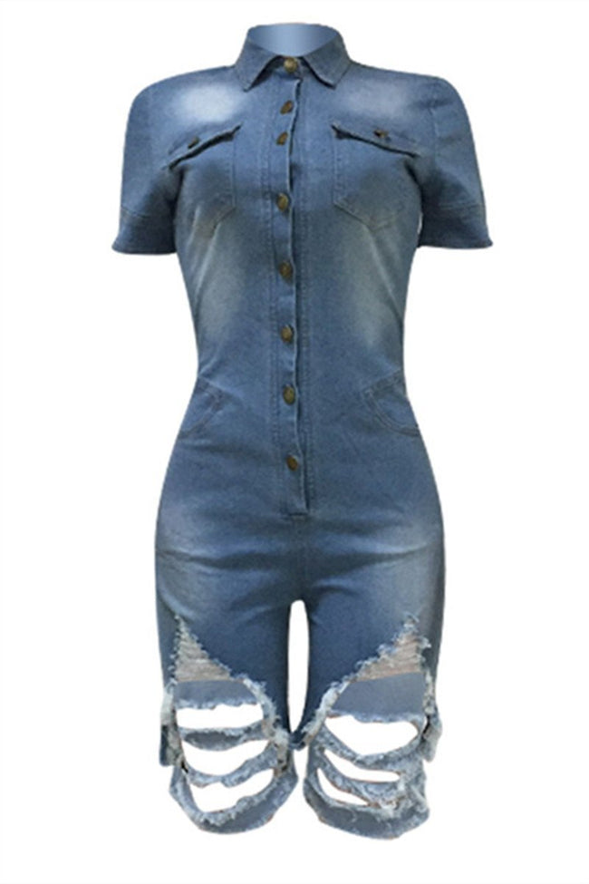 Distressed Button Up Short Sleeve Denim Romper-Jumpsuits-Chicbela