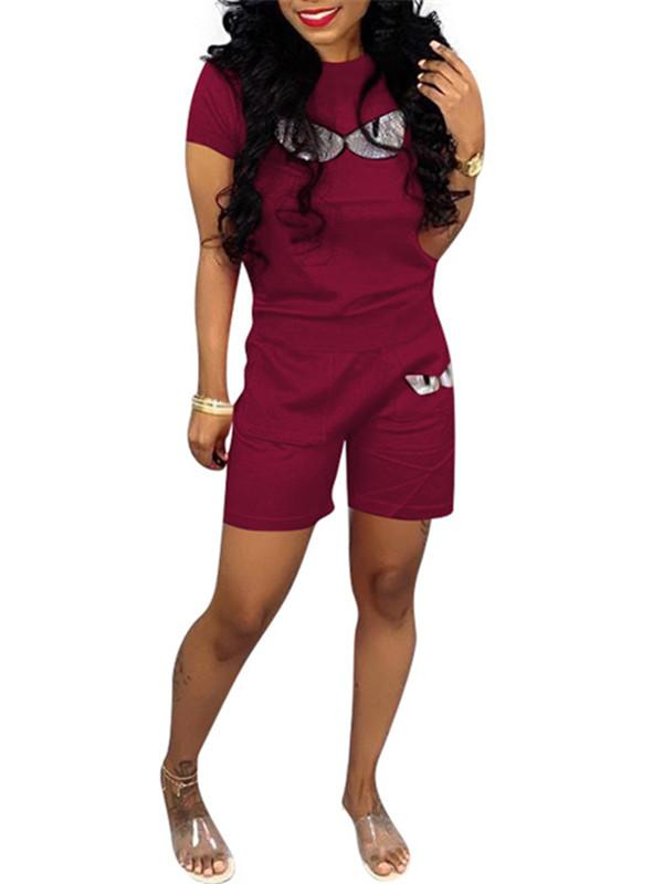 Plus Size Short Sleeve Casual Two Piece Sets-Sets>Pant Sets>Casual-Chicbela