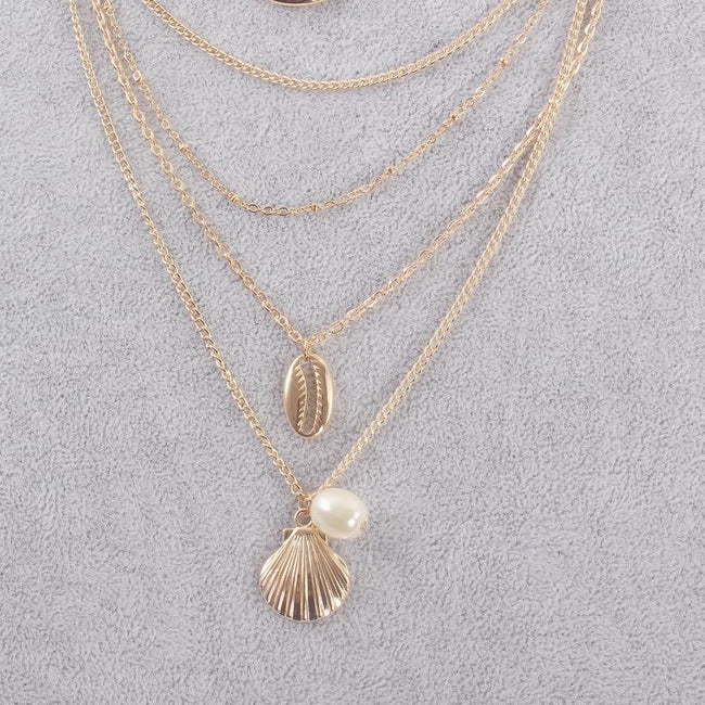 Shell Pearl Scallop Combination Necklace-Accessories-Chicbela
