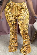 Leopard Print Plus Size Drawstring Flared Pants-Bottoms-Chicbela